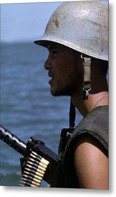 Vietnam War, A Navy Gunner Mans His 50 Metal Print by Everett