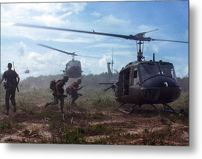Vietnam War, Uh-1d Helicopters Airlift Metal Print by Everett
