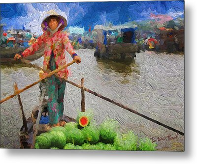 Vietnamese Woman Boating Metal Print by Peter Moderdovsky