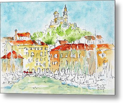 Metal Print featuring the painting Vieux Port Marseille by Pat Katz