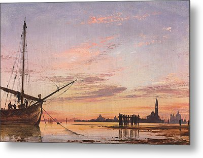 View Across The Lagoon, Venice, Sunset Metal Print by Edward William Cooke