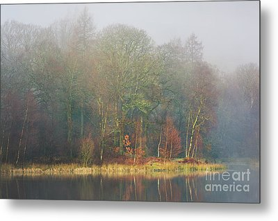 view across Yew Tree Tarn in the mist Metal Print by Tony Higginson