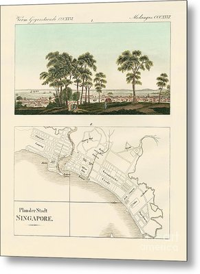 View And Map Of The East Indian Establishment Singapore  Metal Print by German School