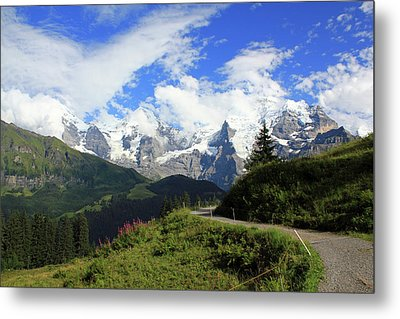 View At The Famous Mountains Eiger Moench And Jungfrau Switzerland Metal Print