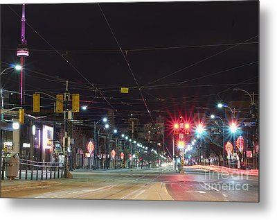 View Down Spadina Ave At Night. An Metal Print by Will Burwell