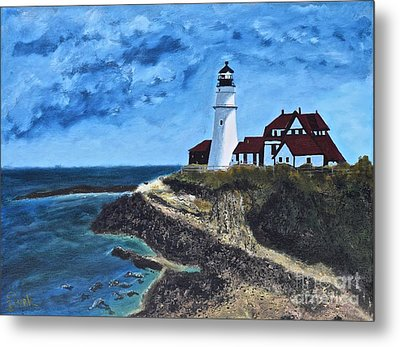 View From The North Portland Head Light Metal Print
