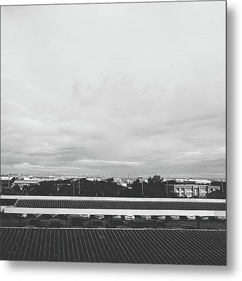 View From The Terrace Black And White Metal Print