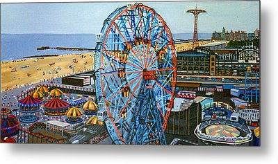 View From The Top Of The Cyclone Rollercoaster Metal Print