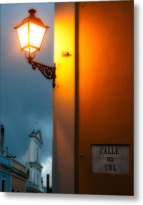 View Of A Lit Old Street Lamp Calle Del Sol Puerto Rico Metal Print by George Oze