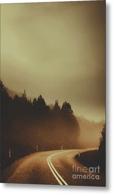 View Of Abandoned Country Road In Foggy Forest Metal Print