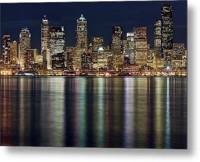 View Of Cityscape At Night Metal Print by Stephen Kacirek