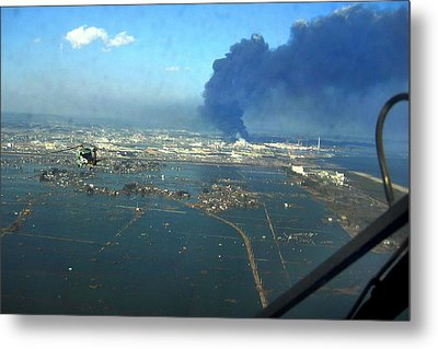 View Of Destroyed Sendai Japan On March Metal Print by Everett