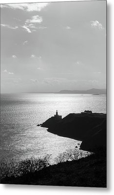 Metal Print featuring the photograph View Of Howth Head With The Baily Lighthouse In Black And White by Semmick Photo