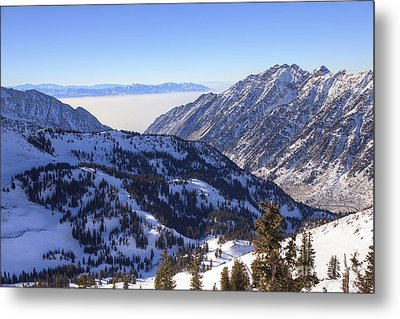 View Of Little Cottonwood Canyon From Hidden Peak Metal Print by Spencer Baugh