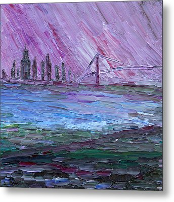 Metal Print featuring the painting View On Manhattan by Vadim Levin