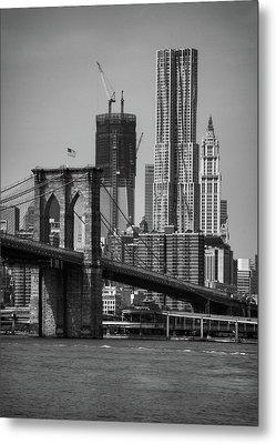 View Of One World Trade Center And Brooklyn Bridge Metal Print by Matt Pasant