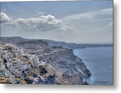 View Of Santorini Metal Print by CR  Courson