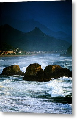 View Of Storm Over Cannon Beach From Metal Print by Panoramic Images