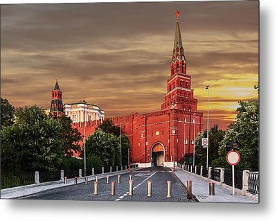 View Of The Borovitskaya Tower Of The Moscow Kremlin Metal Print