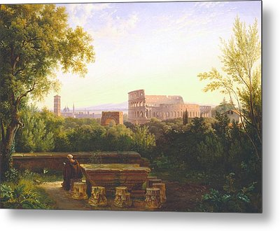 View Of The Colosseum From The Orti Farnesiani Metal Print