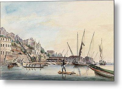 View Of The Dockyard, At Bahia Or San Salvador  Metal Print by Thomas L Hornbrook