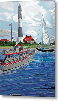 View Of The Fire Island Lighthouse From The Great South Bay Metal Print