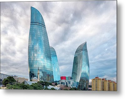 Metal Print featuring the photograph View Of The Flame Towes Of Baku by Fabrizio Troiani