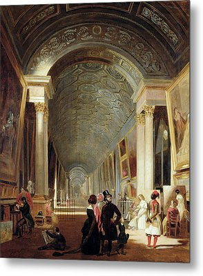 View Of The Grande Galerie Of The Louvre Metal Print by Patrick Allan Fraser