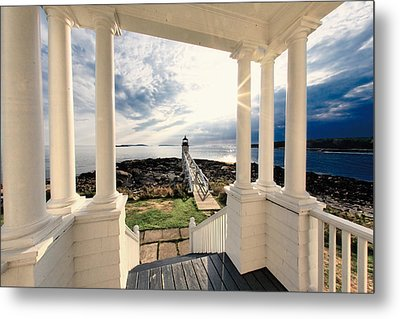 View Of The Marshall Point Lighthouse From The Keeper's House Metal Print by George Oze