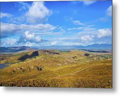 Metal Print featuring the photograph View Of The Mountains And Valleys In Ballycullane In Kerry Irela by Semmick Photo