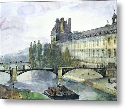 View Of The Pavillon De Flore Of The Louvre Metal Print by Francois-Marius Granet