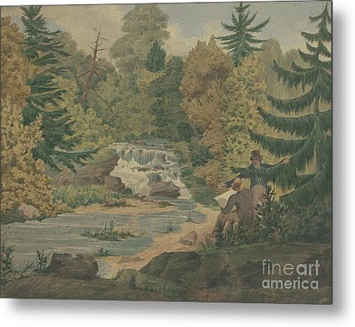 View Of The Second Falls On The Sawkill Near Mr Montgomery's Metal Print