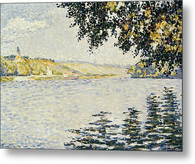 View Of The Seine At Herblay Metal Print