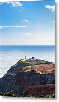 View Of The Trails On Howth Cliffs With The Lighthouse In Irelan Metal Print by Semmick Photo