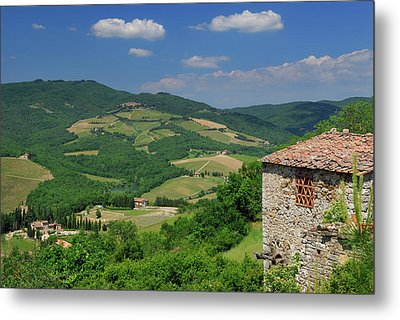 View Of Vineyards And Ancient Hillside House From Radda In Chian Metal Print by Reimar Gaertner