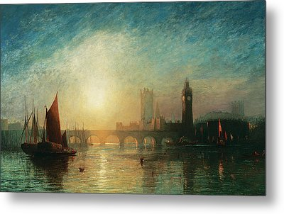 View Of Westminster Bridge And The Houses Of Parliament Metal Print by James Francis Danby