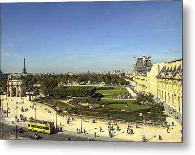 View On Eiffel Tower And Louvre Metal Print by Patricia Hofmeester