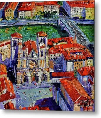 View Over Cathedral Saint Jean Lyon Metal Print by Mona Edulesco