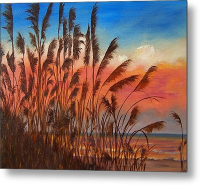 Metal Print featuring the painting View Thru Seaoats Sold by Susan Dehlinger