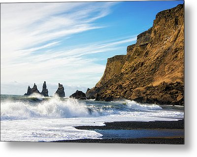 Metal Print featuring the photograph Vik Reynisdrangar Beach And Ocean Iceland by Matthias Hauser