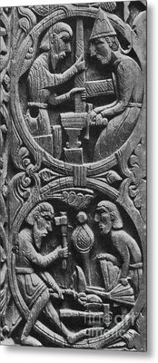 Viking Blacksmiths Forge The Sword Metal Print by Photo Researchers