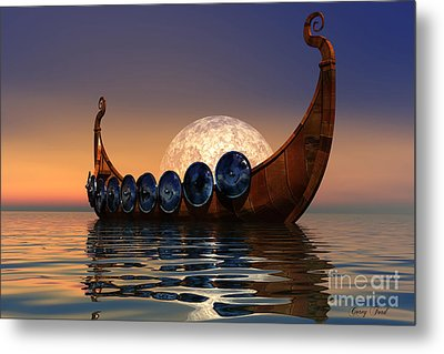 Viking Boat Metal Print by Corey Ford