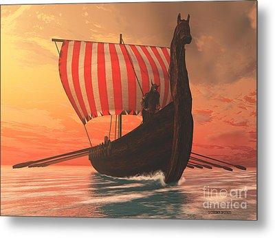 Viking Man And Longship Metal Print by Corey Ford