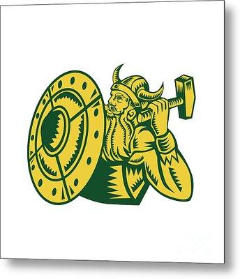Viking Warrior Hammer Shield Woodcut Metal Print by Aloysius Patrimonio
