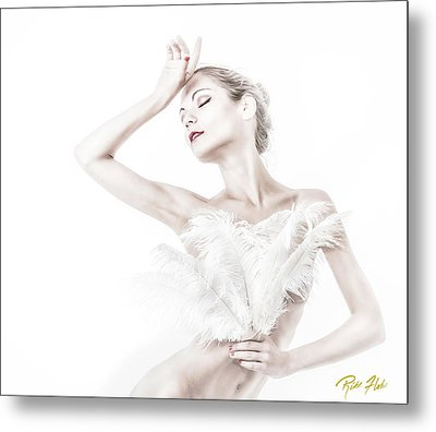 Viktory In White - Feathered Metal Print