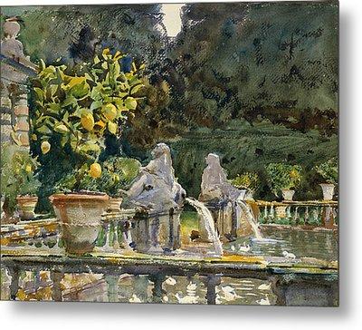 Villa Di Marlia Lucca A Fountain Metal Print by John Singer Sargent
