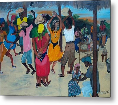 Village Dance Under The Pergola Metal Print