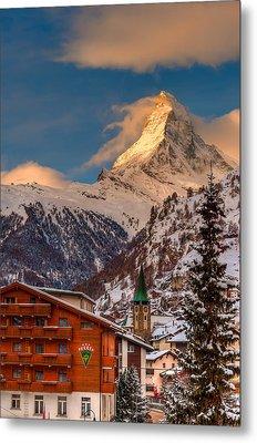 Village Of Zermatt With Matterhorn Metal Print