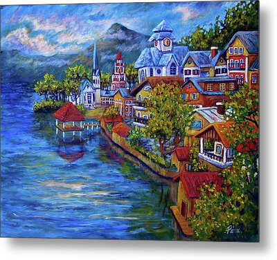 Village On The Lake Metal Print