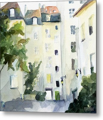 Village Saint Paul Watercolor Painting Of Paris Metal Print